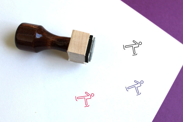 Figure Skating Wooden Rubber Stamp