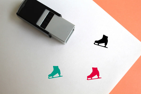 Ice Skate Self-Inking Rubber Stamp