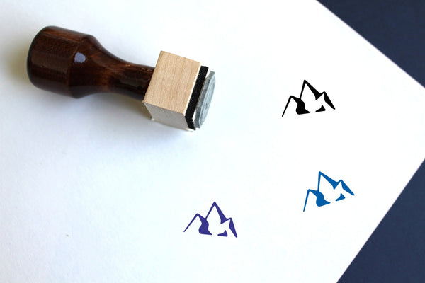 Mountains Wooden Rubber Stamp