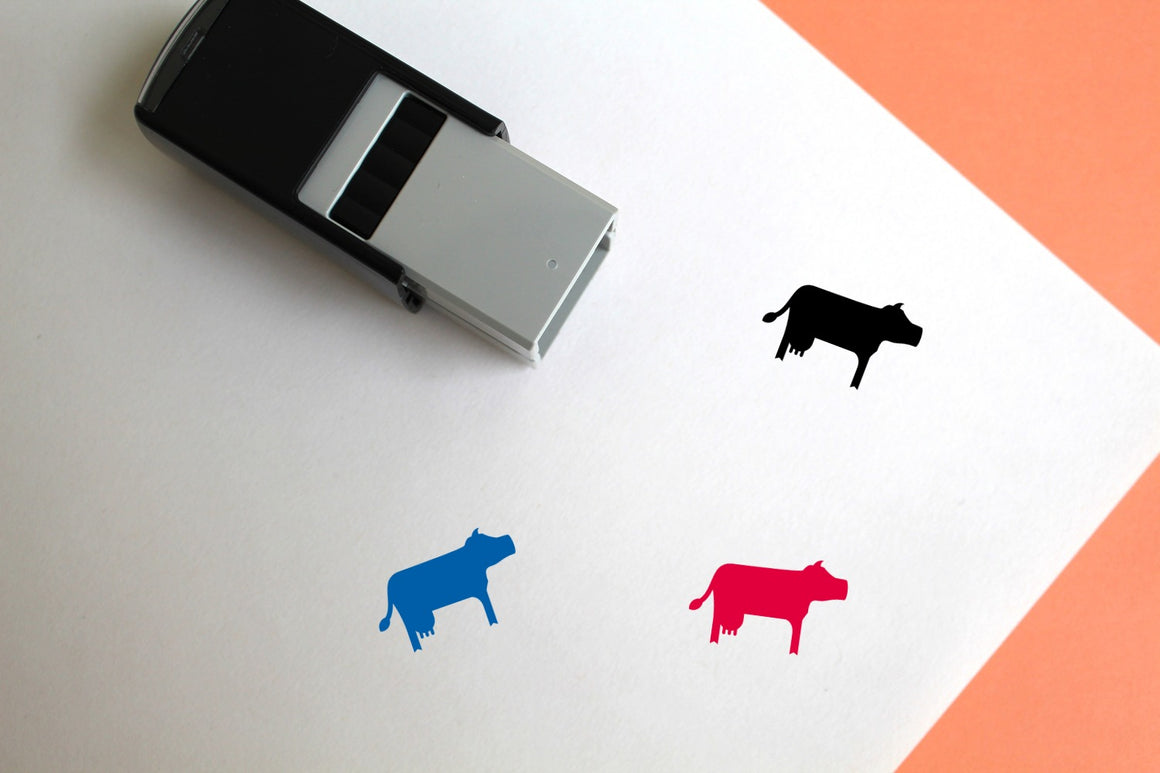 Cow Self-Inking Rubber Stamp