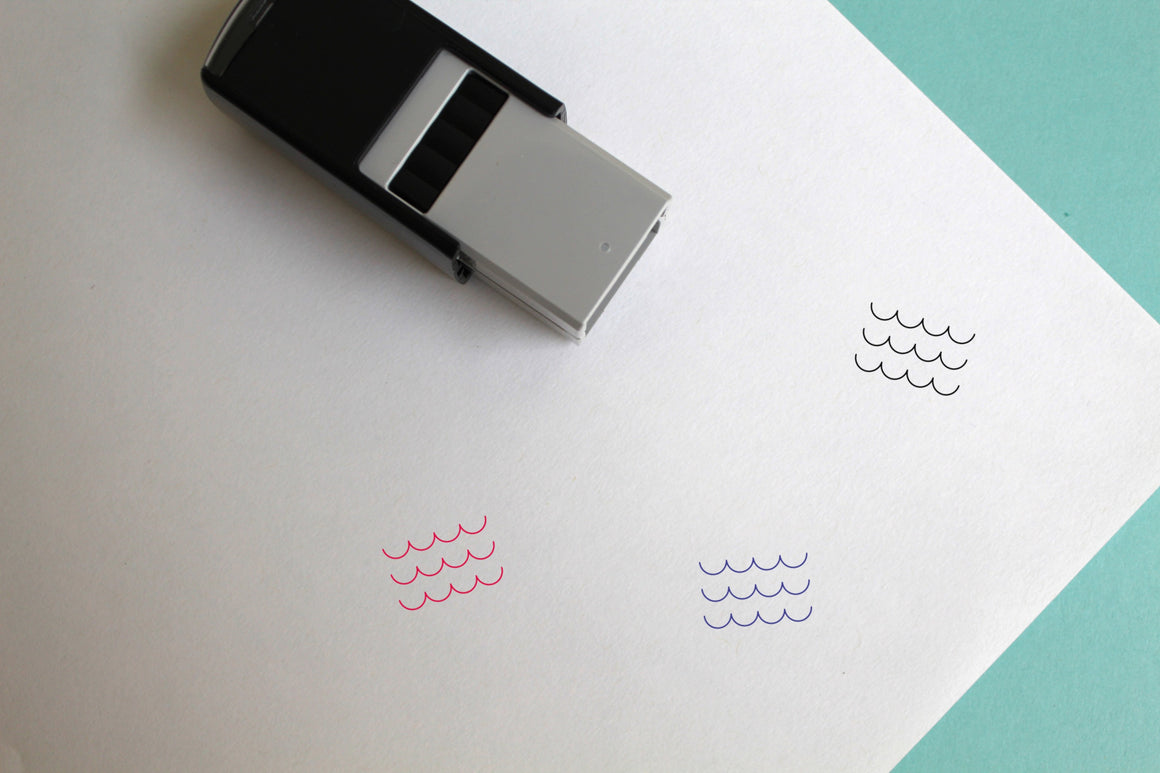 Waves Self-Inking Rubber Stamp