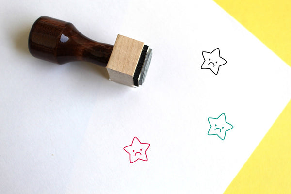 Star Wooden Rubber Stamp