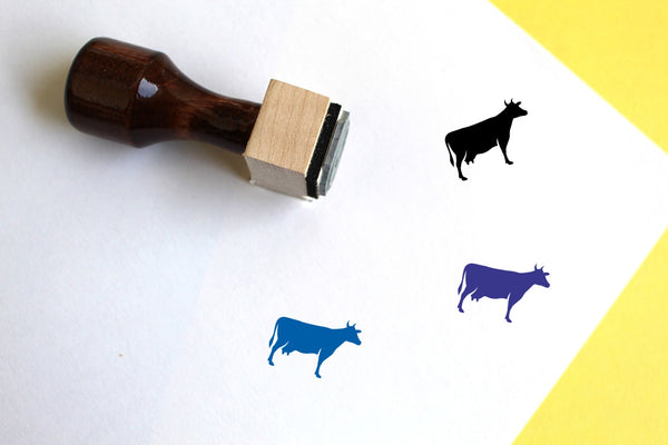 Cow Wooden Rubber Stamp