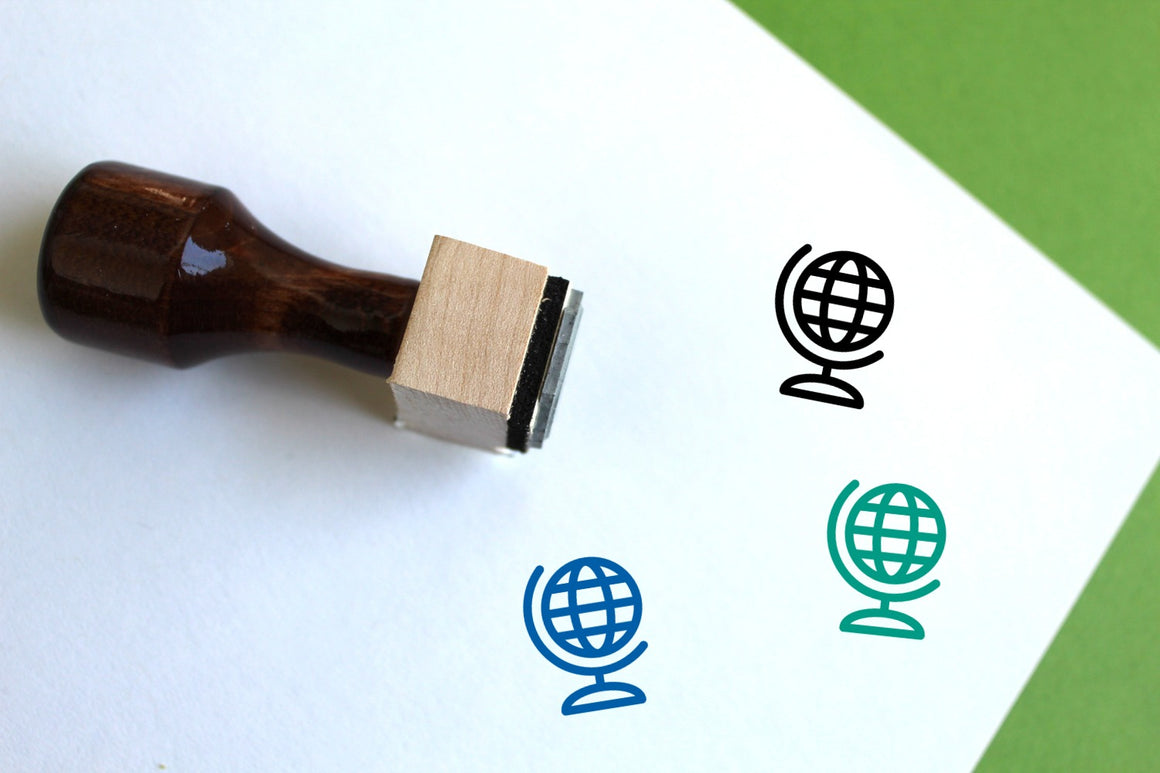 Globe Wooden Rubber Stamp