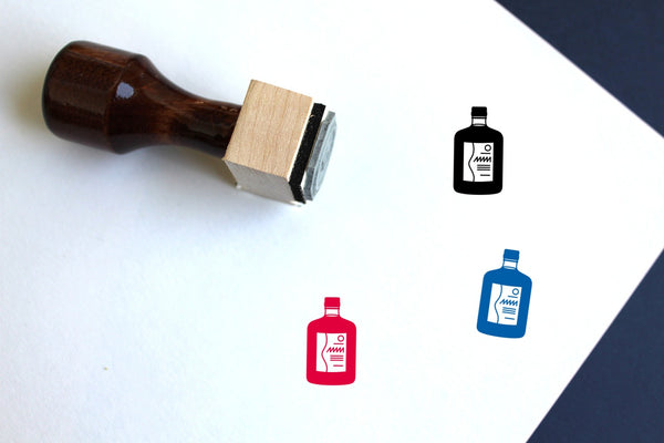 Alcohol Wooden Rubber Stamp