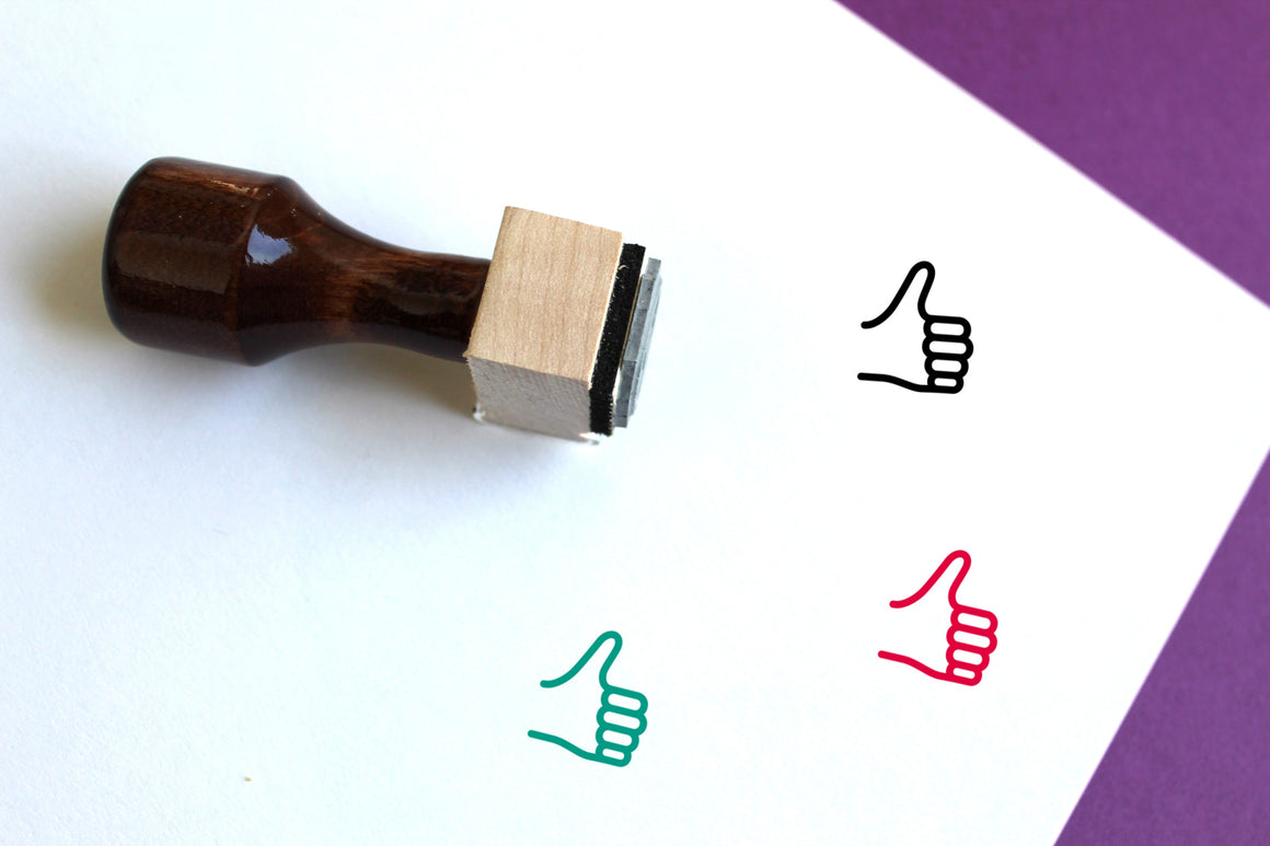 Thumbs Up Wooden Rubber Stamp