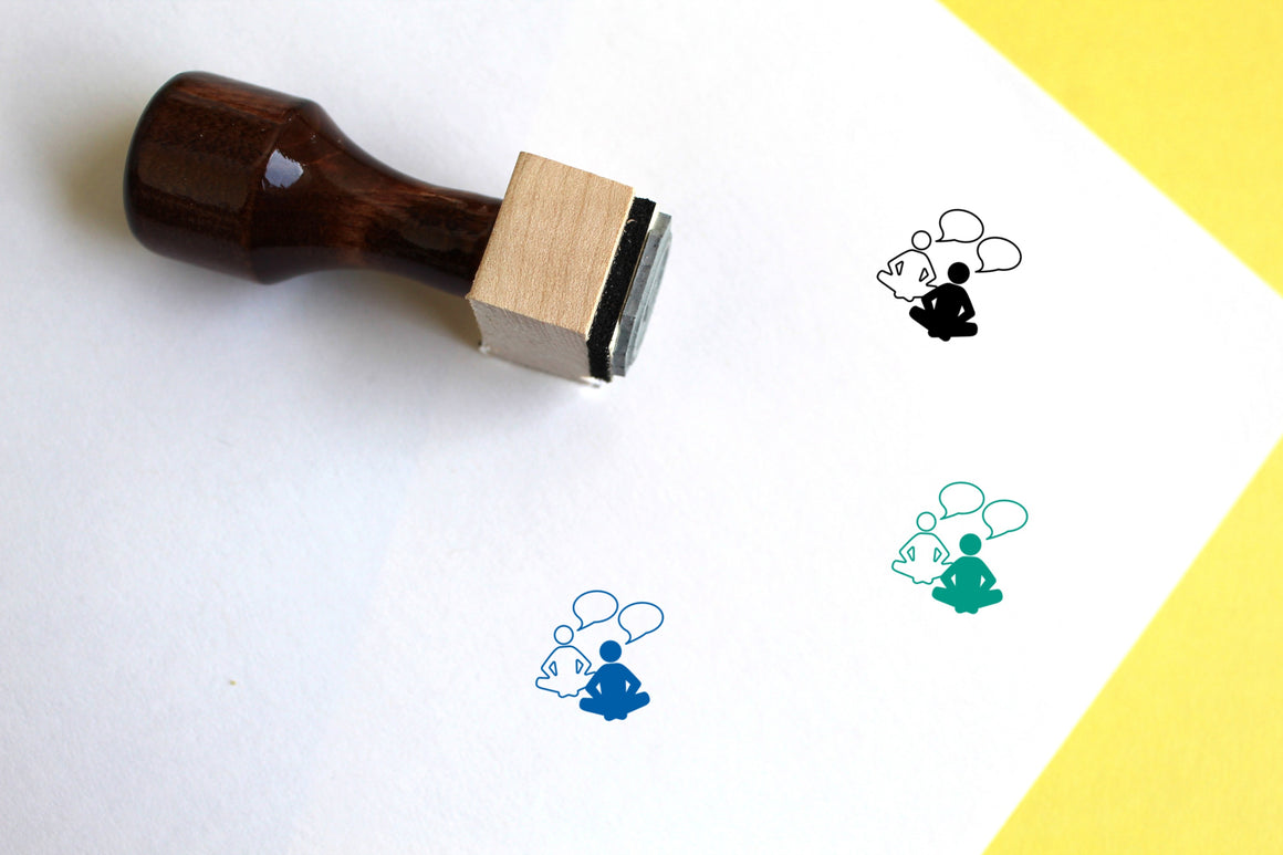 Chat Wooden Rubber Stamp