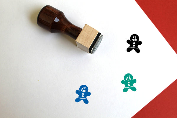Gingerbread Man Wooden Rubber Stamp