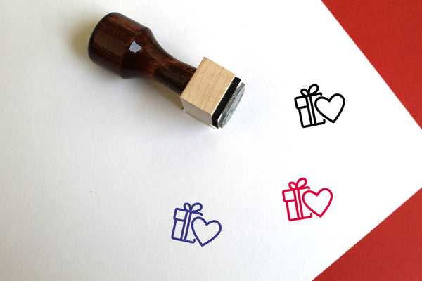 Valentines Day Wooden Rubber Stamp