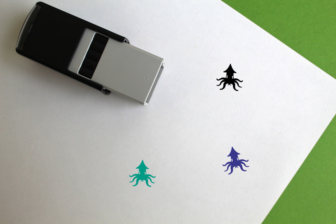 Squid Self-Inking Rubber Stamp