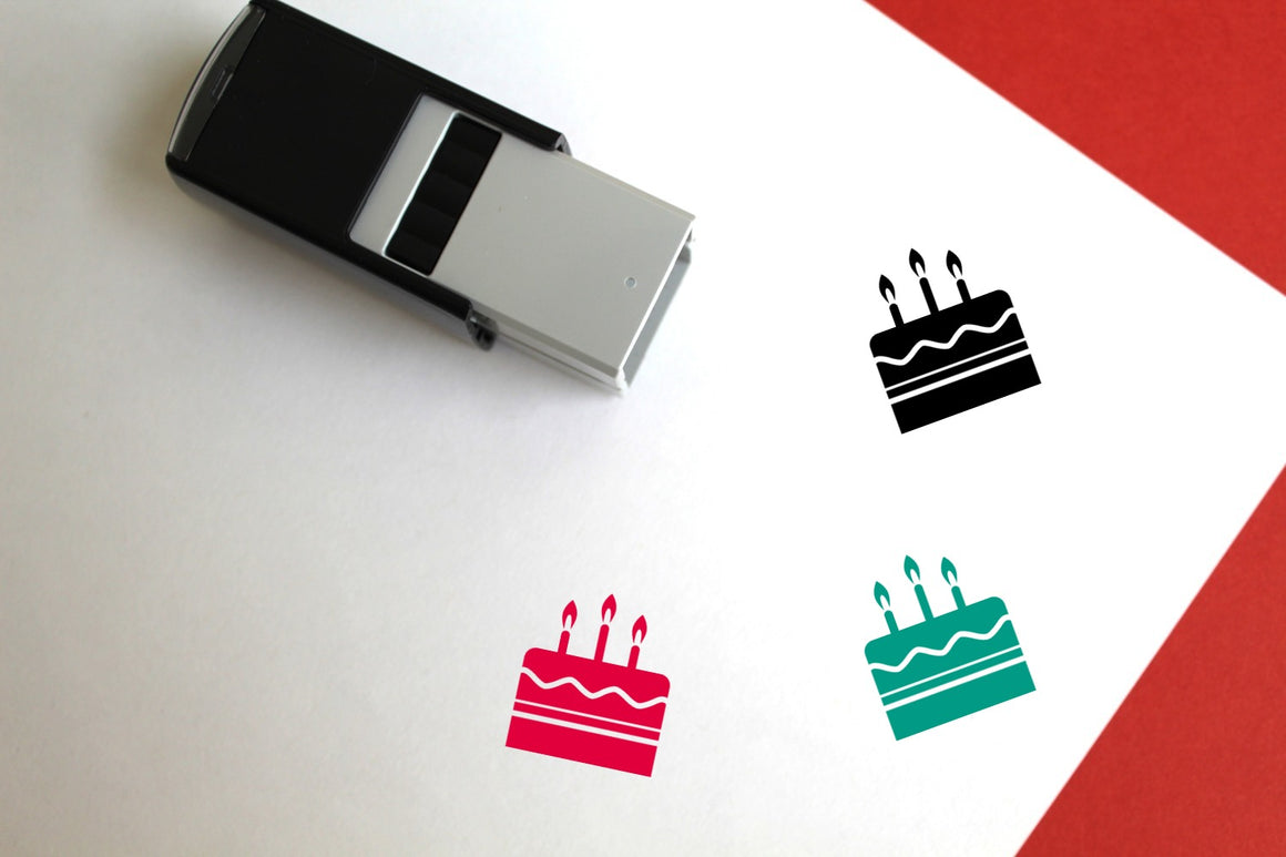 Birthday Cake Self-Inking Rubber Stamp