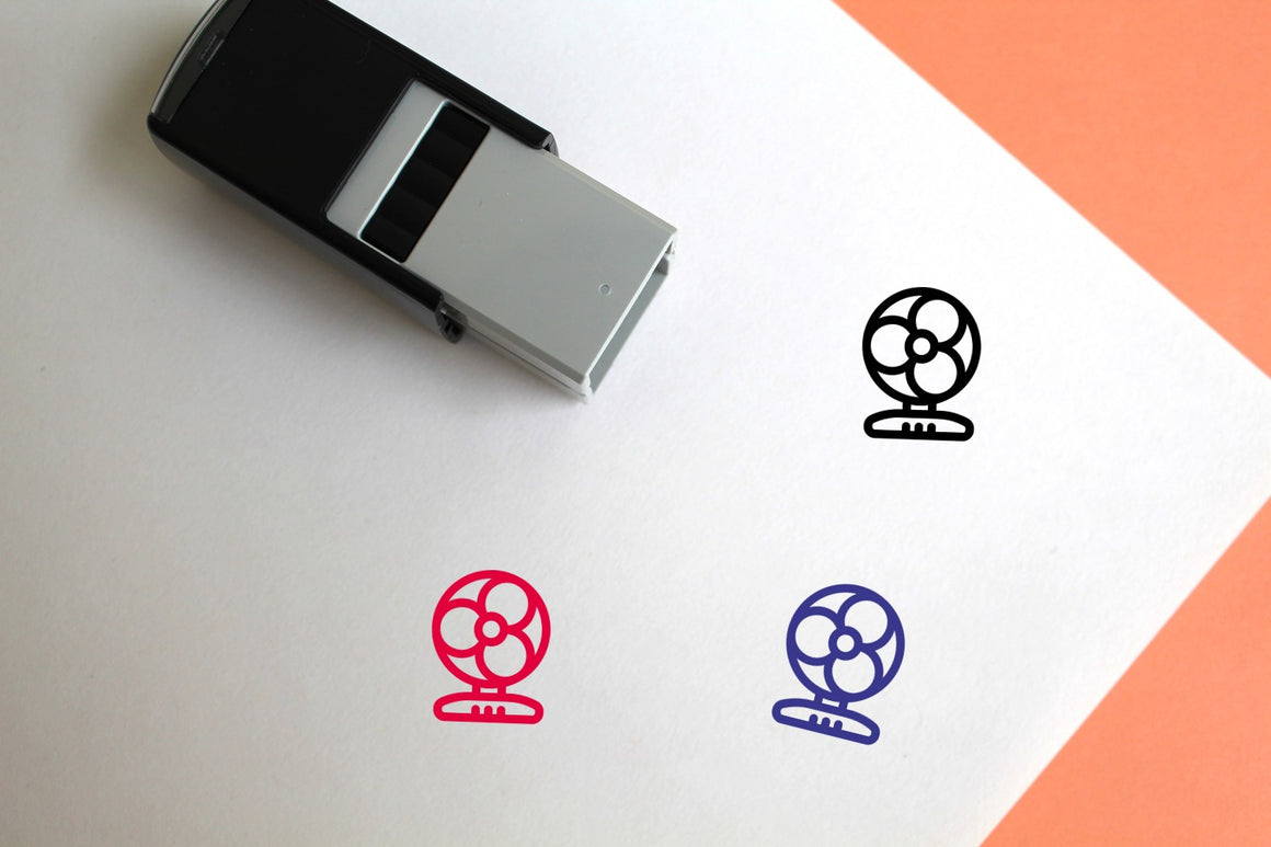 Small Fan Self-Inking Rubber Stamp