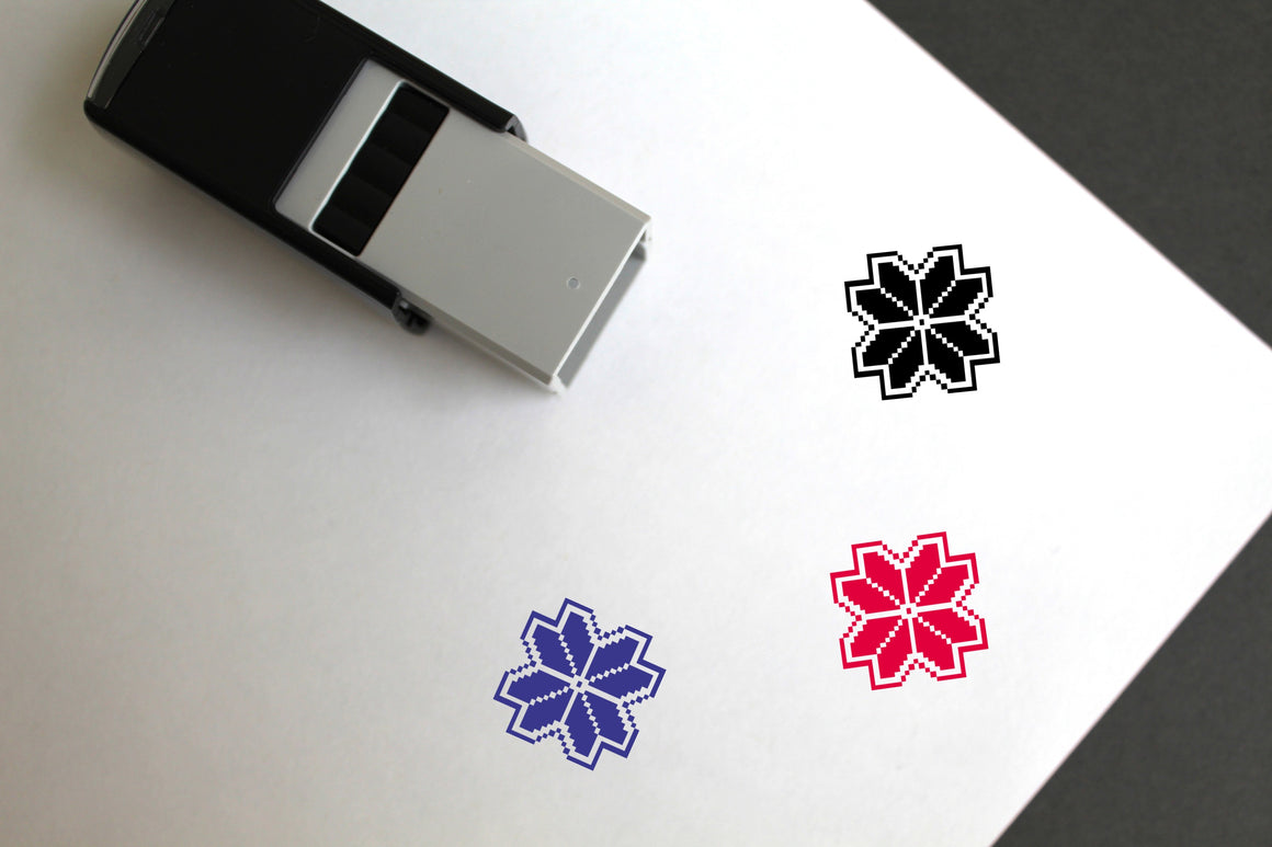 Pixel Flower Self-Inking Rubber Stamp