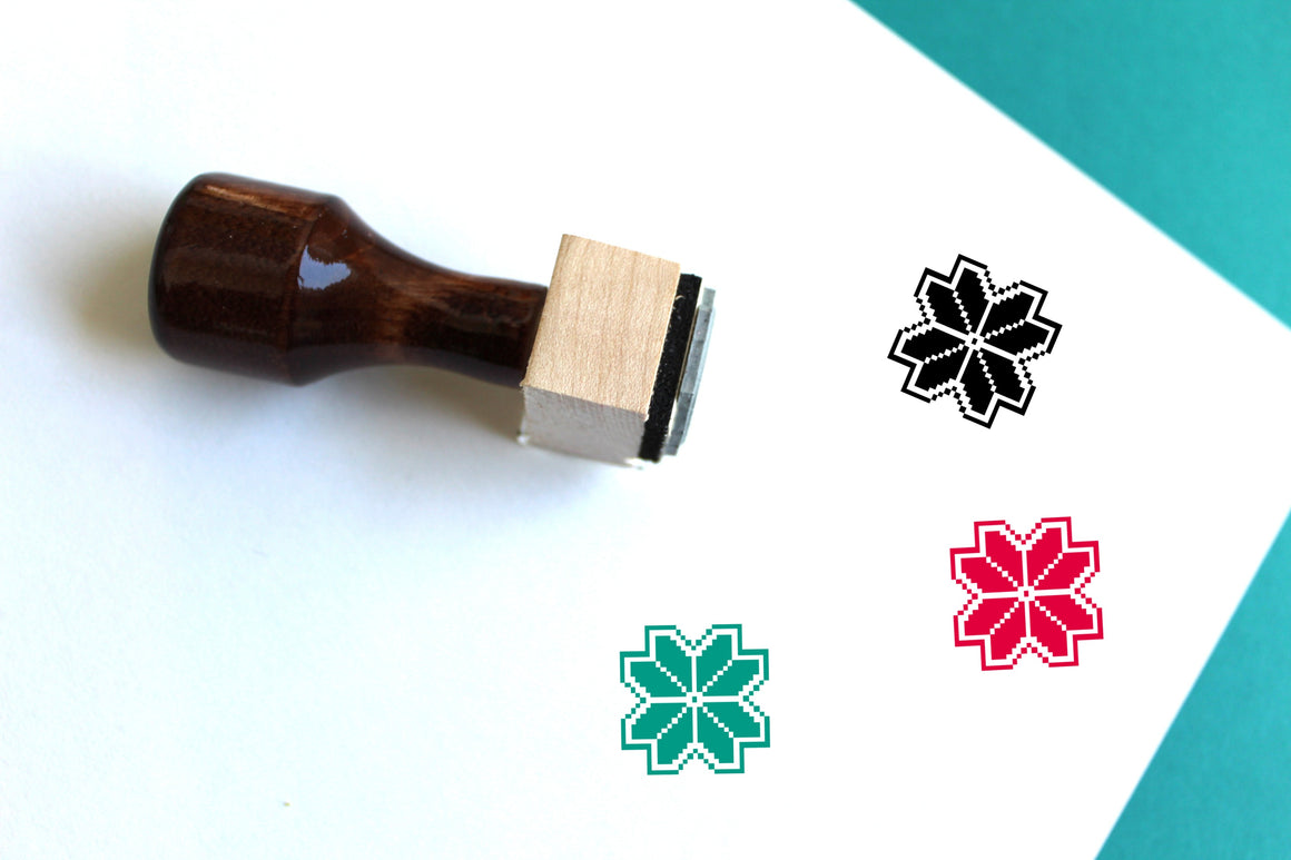 Pixel Flower Wooden Rubber Stamp