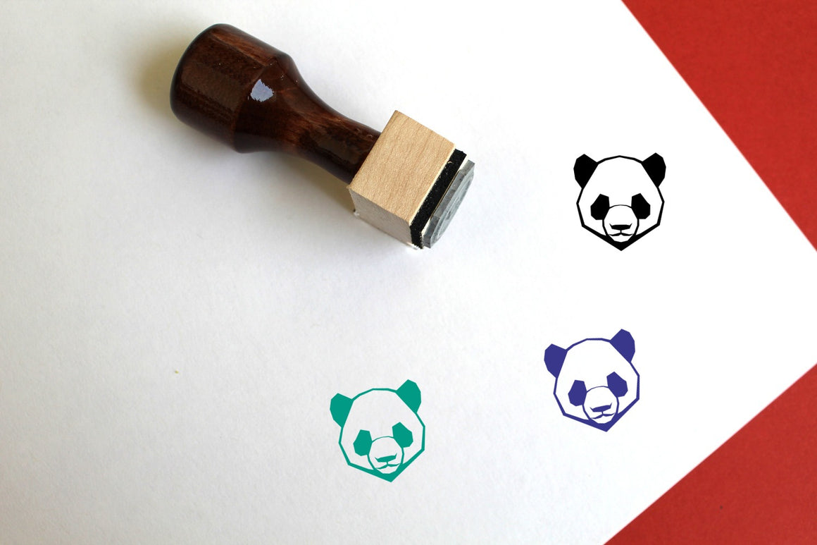 Panda Wooden Rubber Stamp