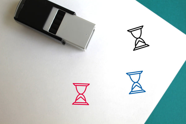 Hourglass Self-Inking Rubber Stamp
