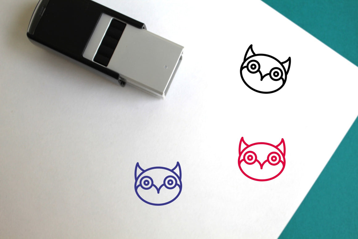 Owl Self-Inking Rubber Stamp