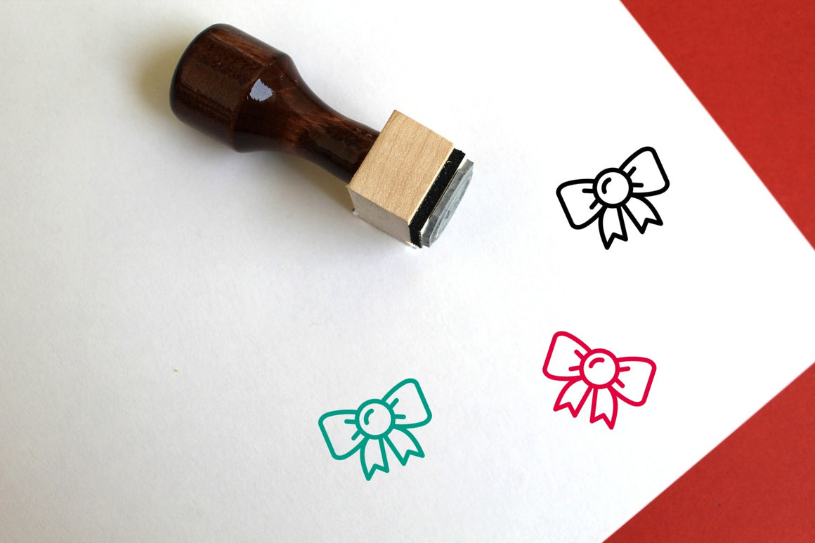 Bow Wooden Rubber Stamp