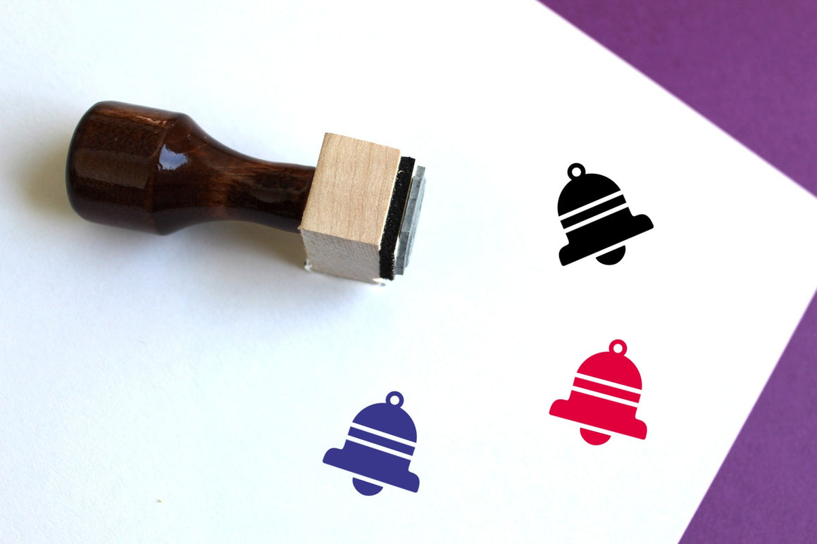 Bell Wooden Rubber Stamp