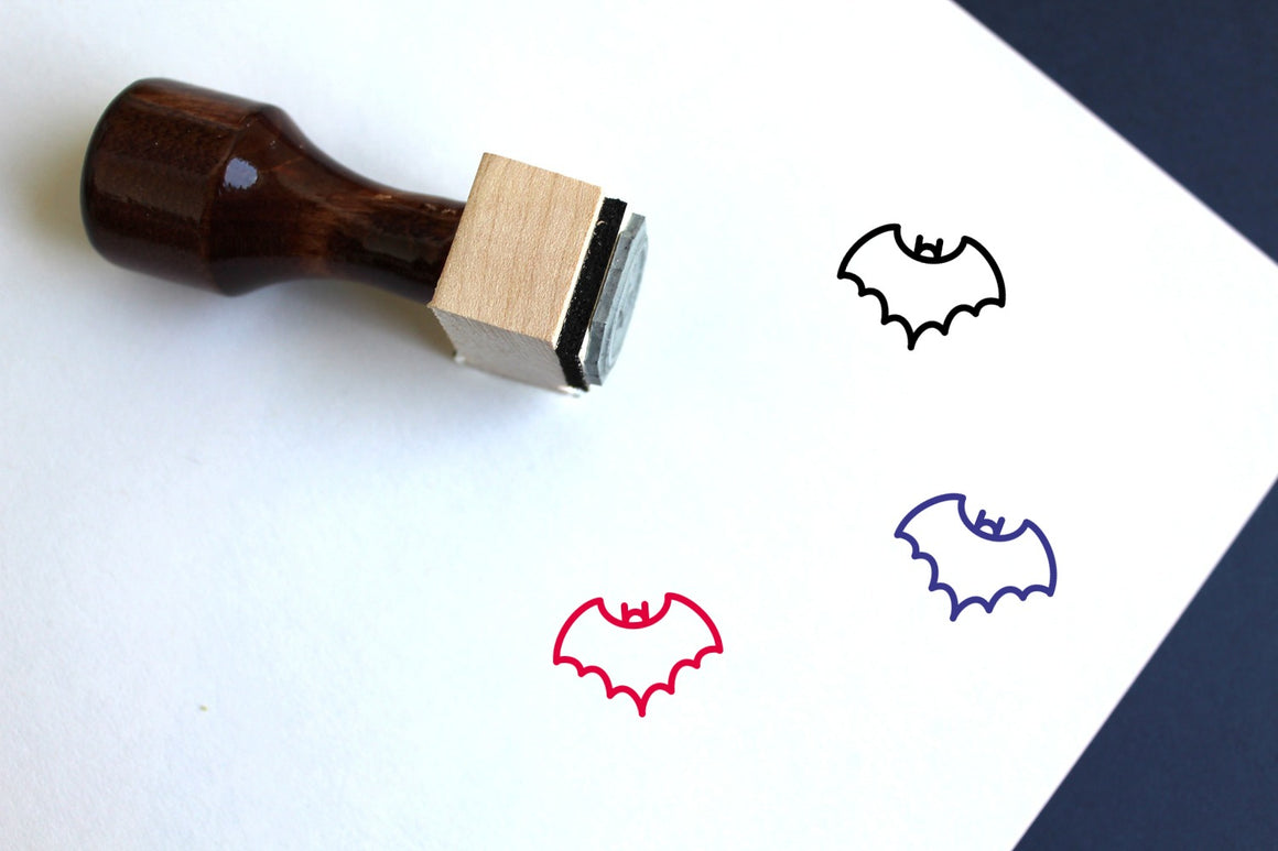 Bat Wooden Rubber Stamp
