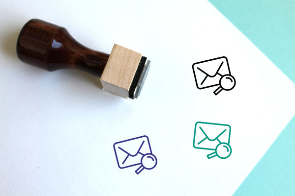 Mail Search Wooden Rubber Stamp