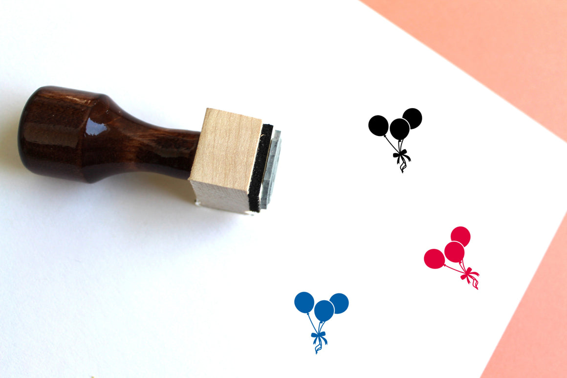 Balloon Wooden Rubber Stamp
