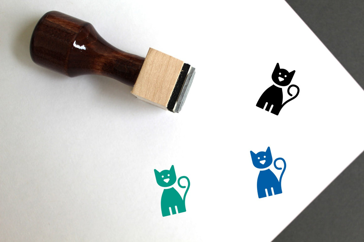 Cat Wooden Rubber Stamp