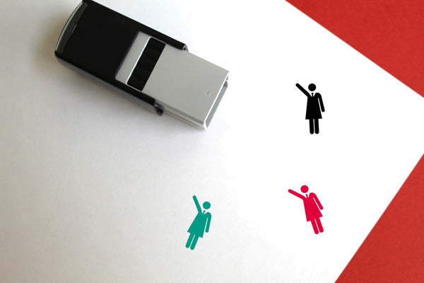 Woman Self-Inking Rubber Stamp