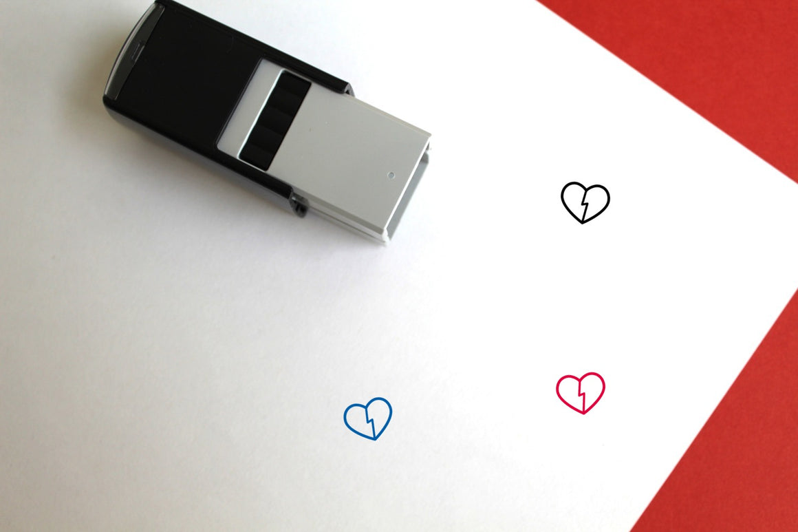 Broken Heart Self-Inking Rubber Stamp