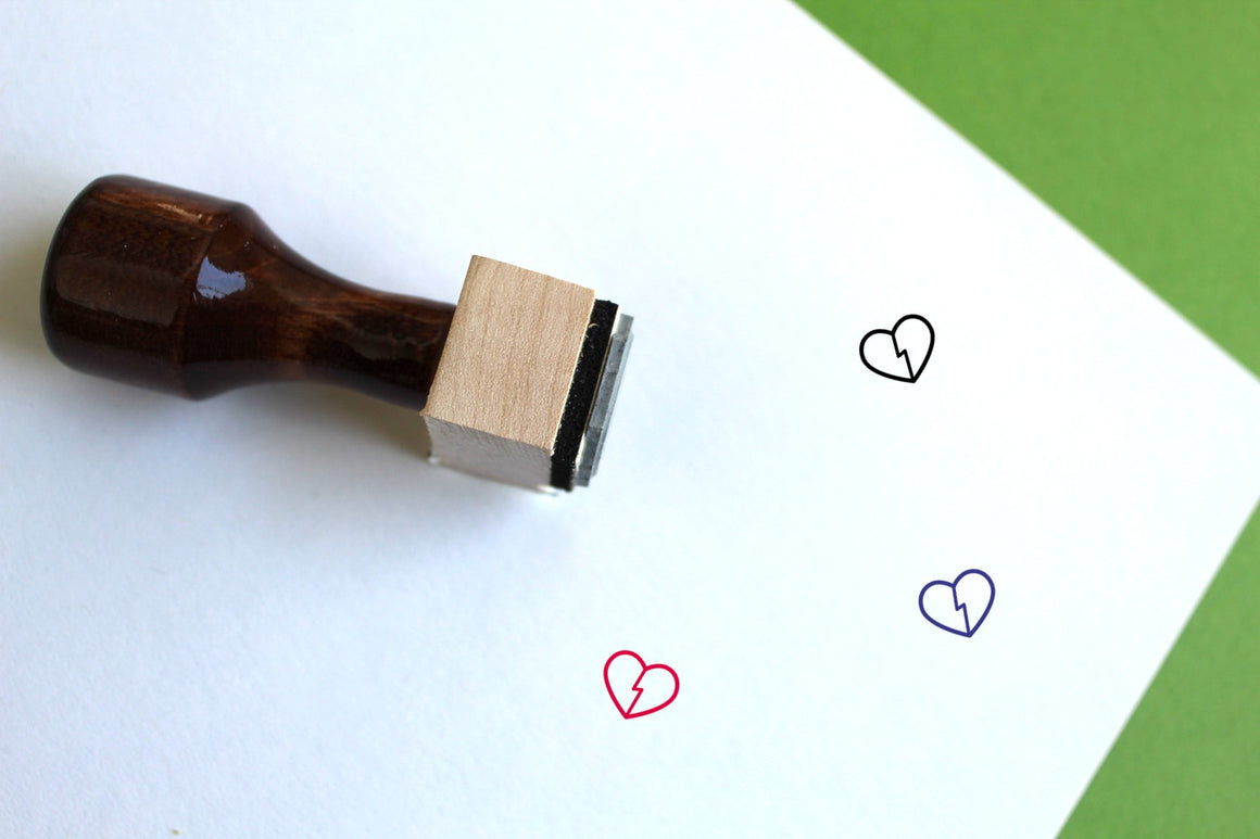 Broken Heart Wooden Rubber Stamp