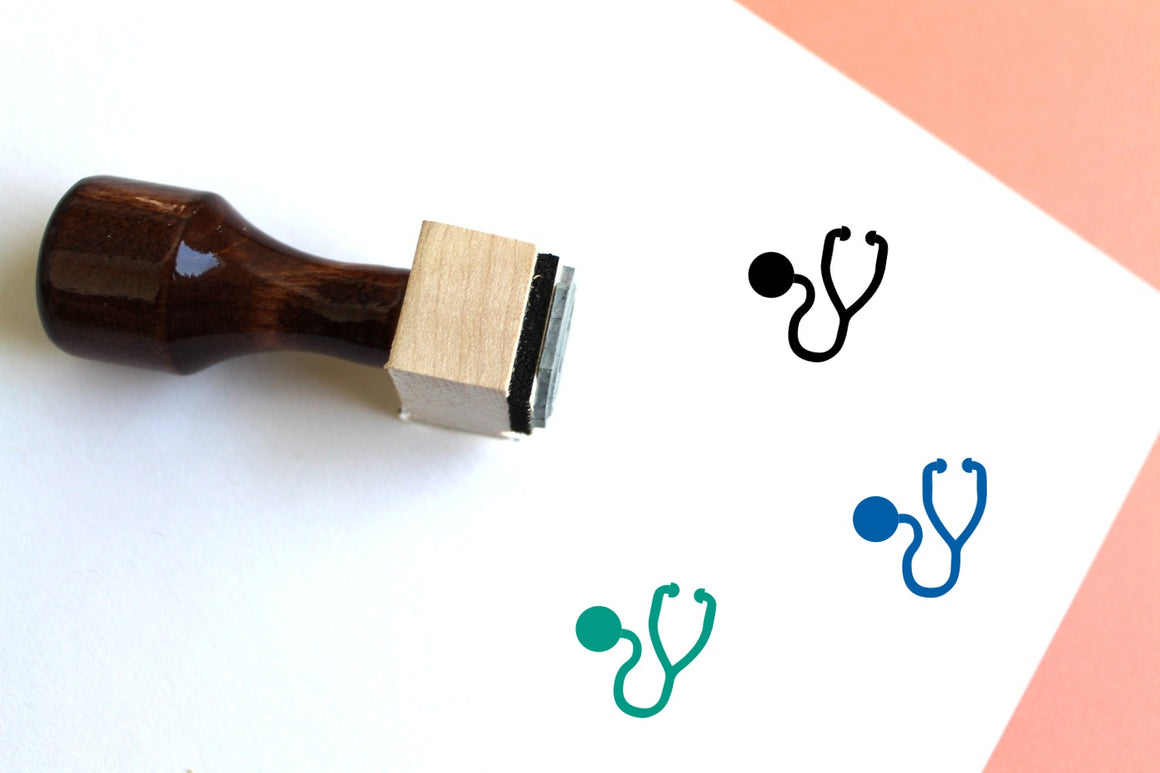 Stethoscope Wooden Rubber Stamp