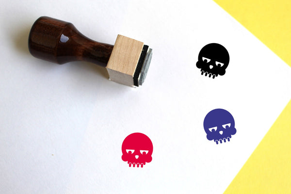 Skull Wooden Rubber Stamp