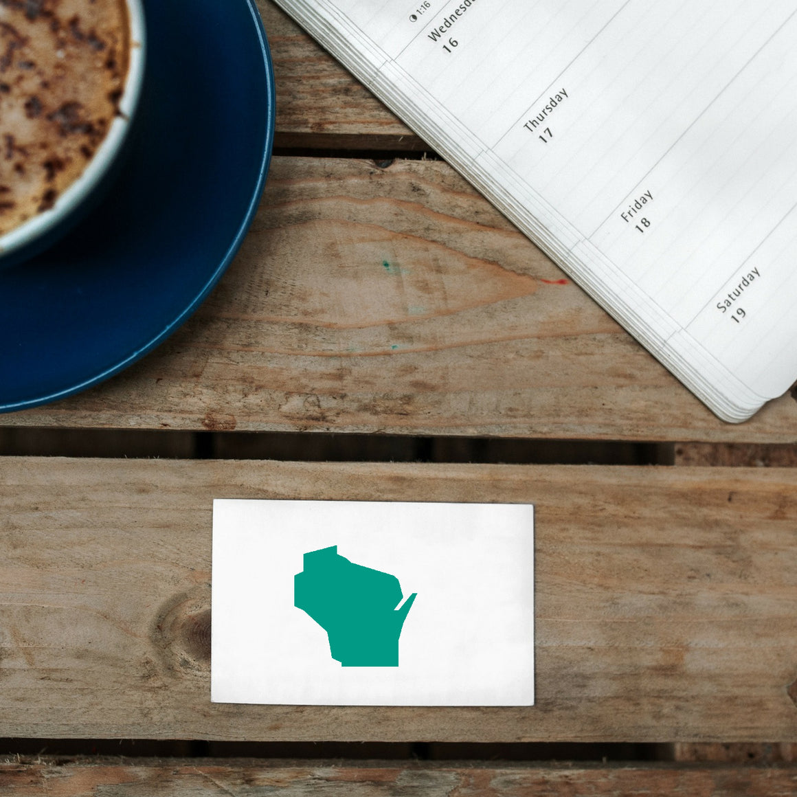 Wisconsin Map Rubber Stamp