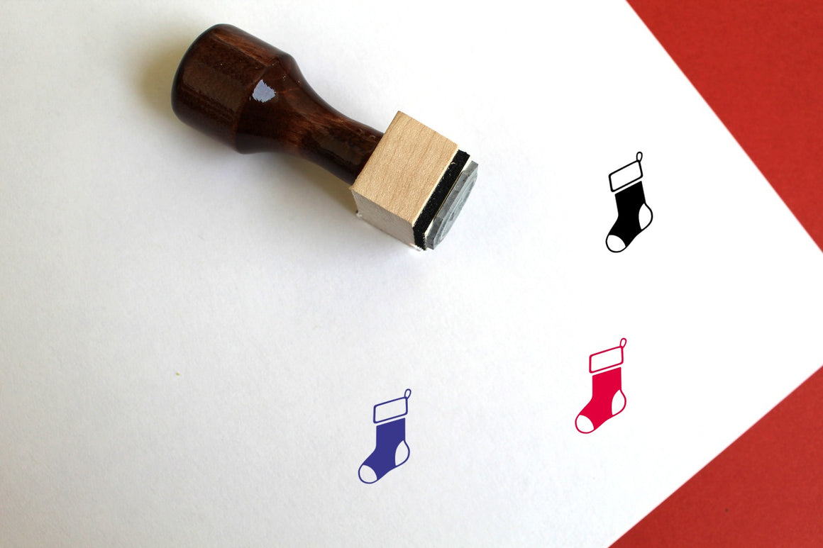 Stocking Wooden Rubber Stamp