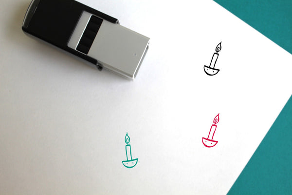 Candle Self-Inking Rubber Stamp