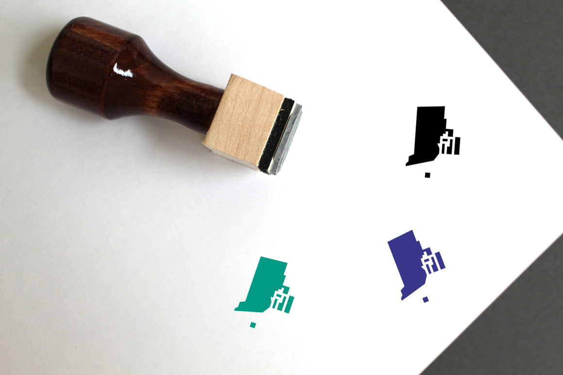 Rhode Island Map Wooden Rubber Stamp