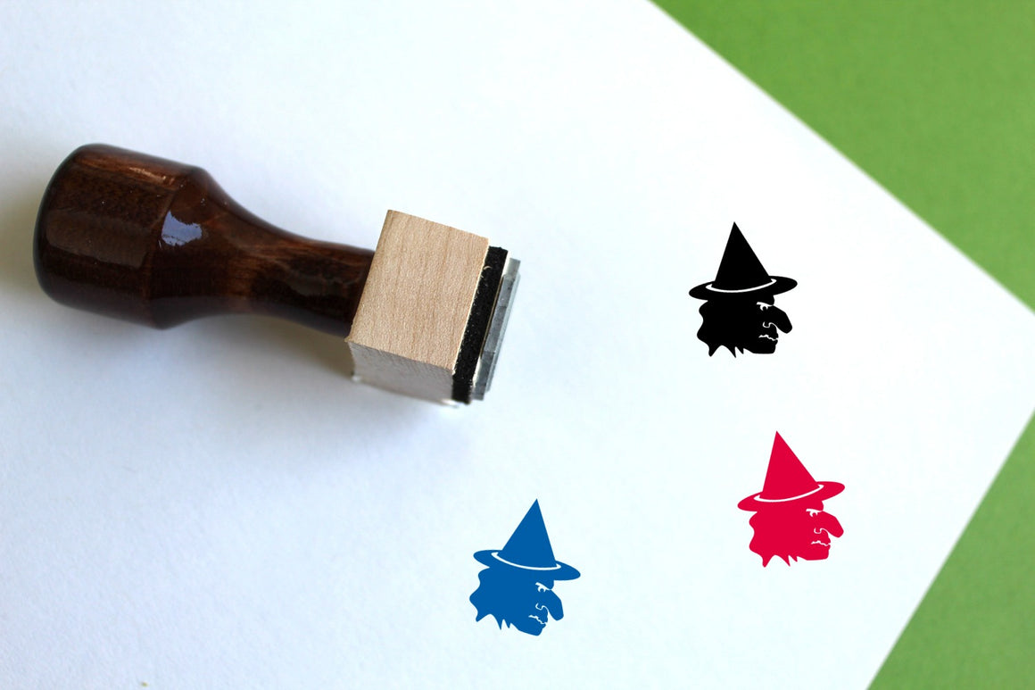 Witch Wooden Rubber Stamp