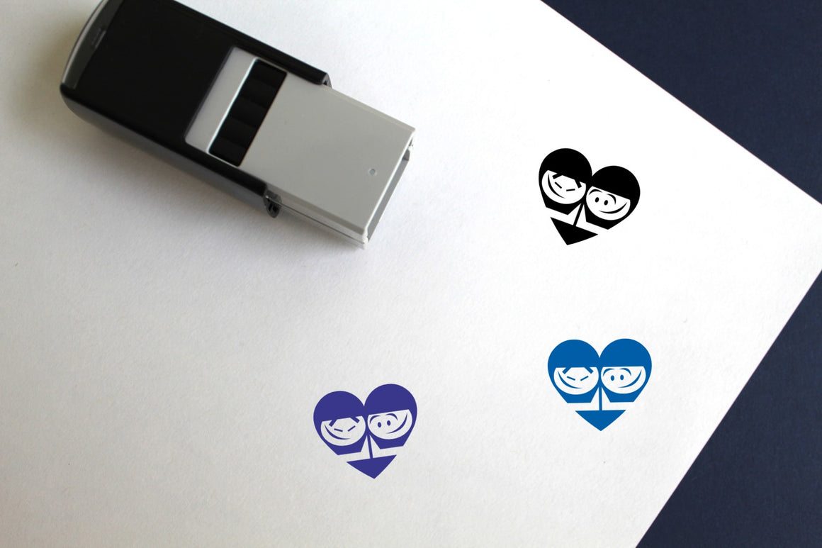 High Five Heart Self-Inking Rubber Stamp