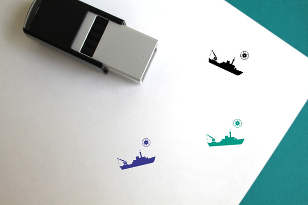 Mine Ship Self-Inking Rubber Stamp