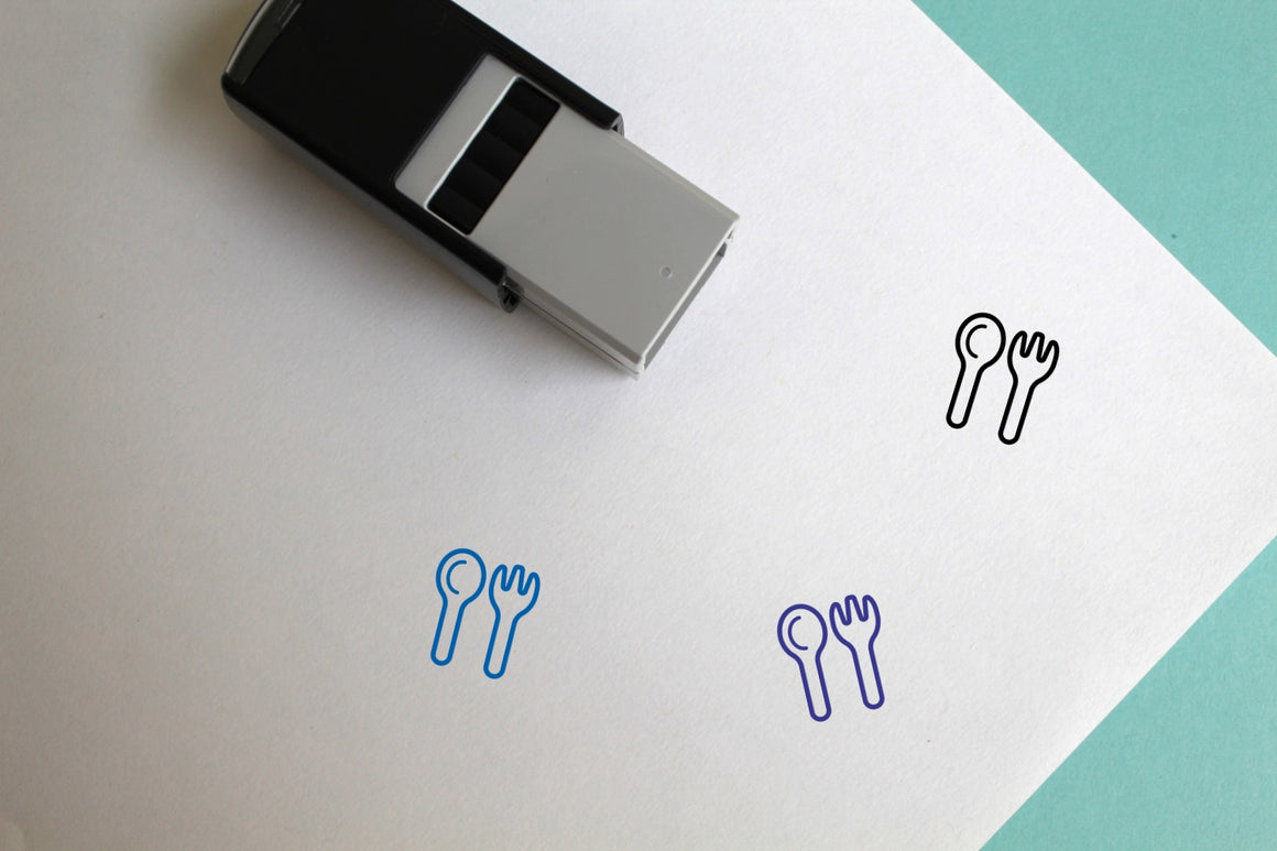 Silverware Self-Inking Rubber Stamp
