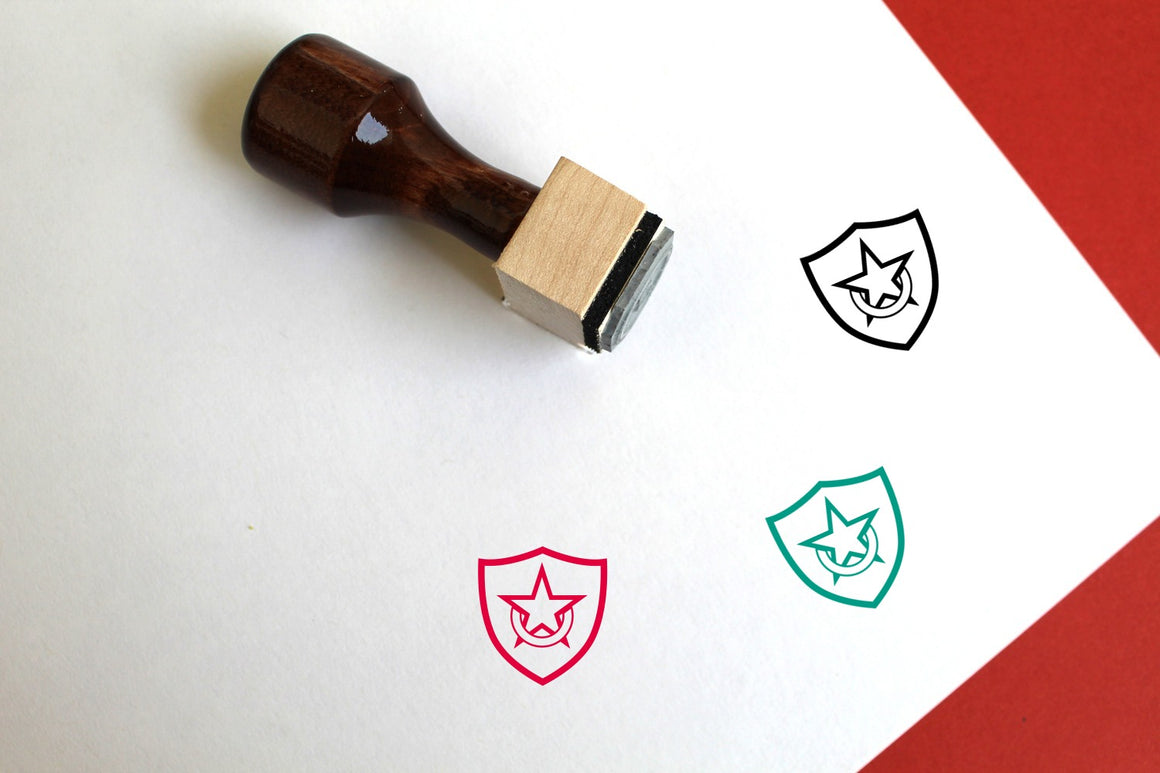 Shield Wooden Rubber Stamp