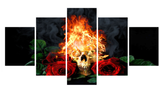 Ensemble de 5 toiles Skull en feu and Rose