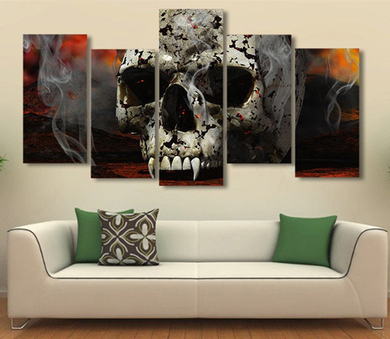 ensemble de 5 toiles dracula 39 s skull like skull. Black Bedroom Furniture Sets. Home Design Ideas