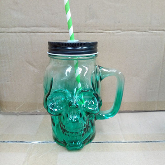 Glass Skull Mug Tankard Striking Skull Warrior Viking Gradient Color Skull Beer Mug Gothic Helmet Drinkware Cup With Straw