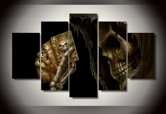 Ensemble de 5 Toiles Skull and Cards