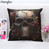 Hongbo 1 Pcs Pillowcase Skull Cushion Cover Cotton Linen Printed Throw Pillows Decorative
