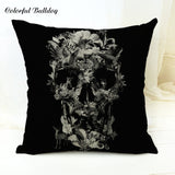 Hallween Cushion Cover Mexican Skull Animal Green Plant Flower Leaves Forest 45*45cm Square Pillow Cover Home Sofa Car Seat Deco