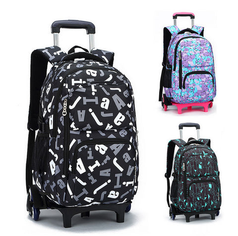 High School Back Pack with Detachable 2 Wheel Trolley