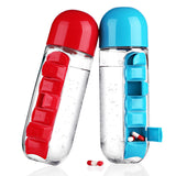 Combination Daily Pill Organizer and 600ML Leak-proof BPA-free Water Bottle