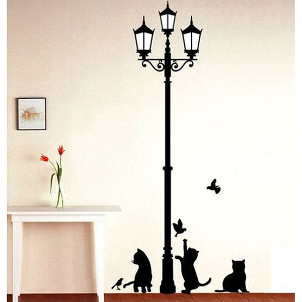 Lamp Cats and Birds Wall Sticker Wall Mural Home Decor